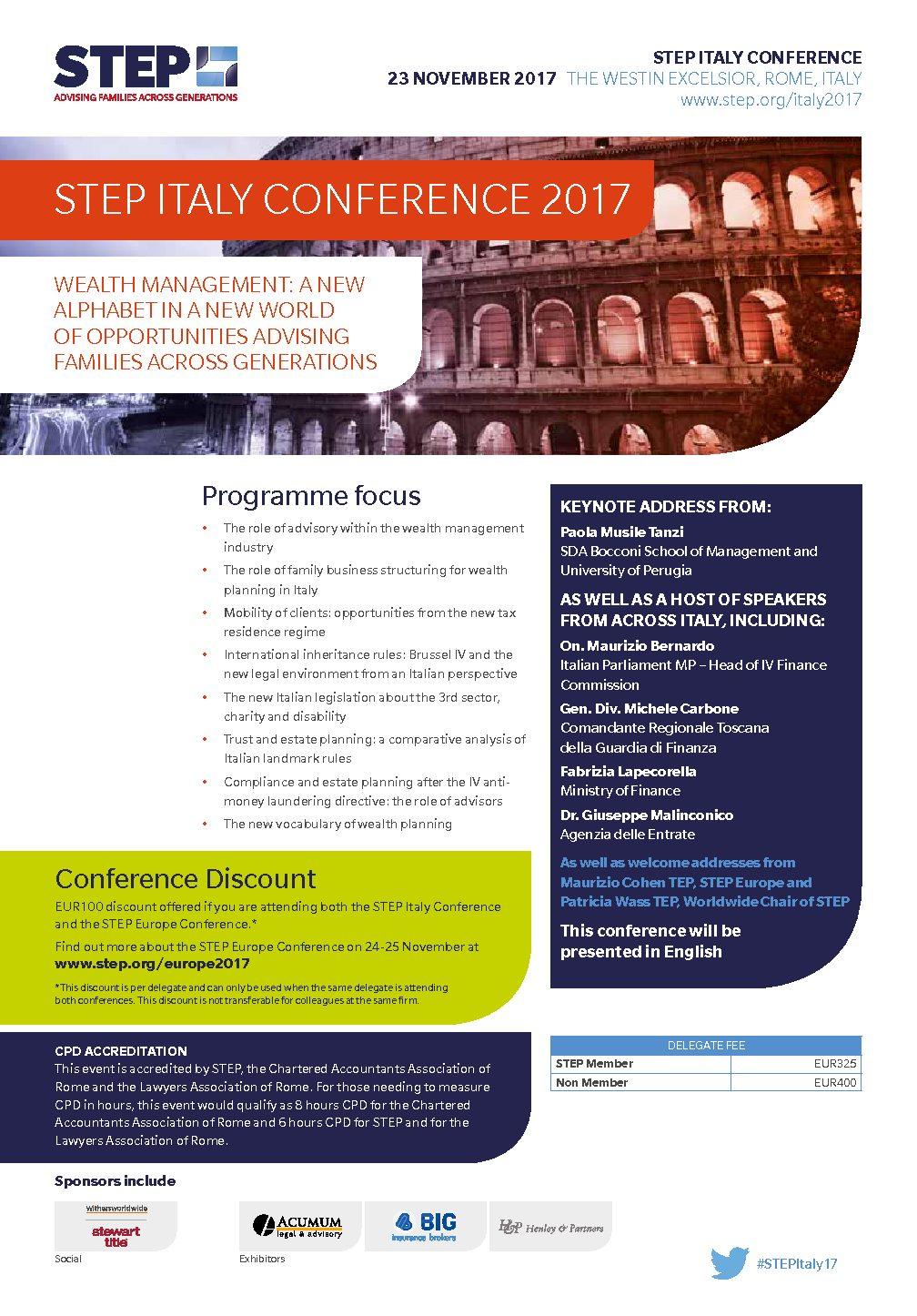 Vi segnaliamo le Conferenze STEP ITALY e STEP EUROPE che si terranno a Roma